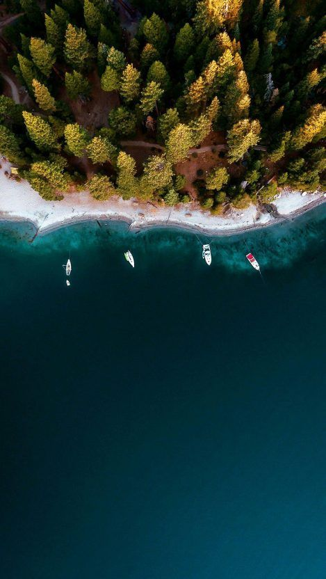 Forest and River Boats Aerial View iPhone Wallpaper – iPhone Wallpapers – Ruzna Wahid