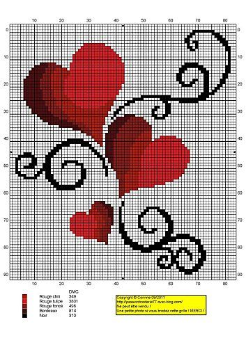 heart cross stitch chart