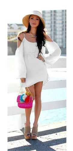 Boho White Off Shoulder Kimono Long Bell Sleeve Dress Crochet Inset