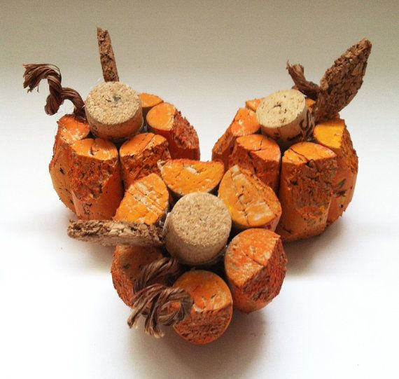 small pumpkin made from recycled corks by CorkCreationsbyK