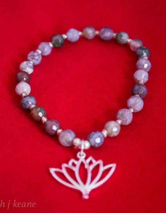 Bracelet Gray agate with silver plated lotus by EddieAndThePeacock https://www.etsy.com/listing/223968951/bracelet-gray-agate-with-silver-plated?ref=listing-shop-header-2