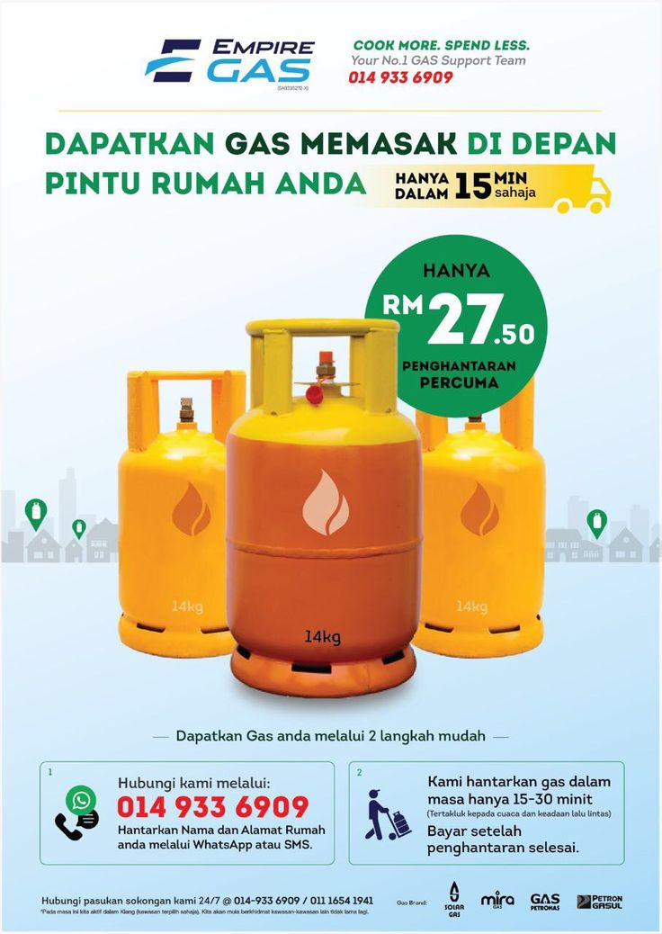 EmpireGas 014-933 6909 Cheapest in market. Free Delivery. Coverage area: Port Klang, Pandamaran & Bukit Tinggi. We are expanding and will start serving other areas soon. Tq