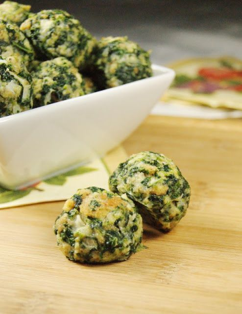 """Spinach Balls  2(10 oz.)pkgs frozen spinach, thawed & well-drained  2 sm onions, very finely chopped  2 1/4 c. stuffing with herbs (I use Pepperidge Farm)  6 eggs, beaten; 1/2 c. melted butter  1/2c Parmesan cheese;2tsp garlic salt   1tsp. black pepper  Mix all ingredients. Form n2 about 1"""" balls; place on a baking sheet w/cooking spray. Bake@350 for 20min"""
