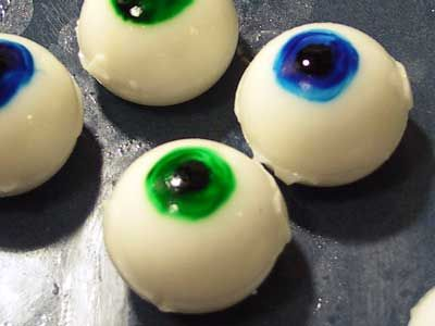 Coconut Malibu Eyeballs (Jello shots) For those who like their eyeballs straight up, no chaser, we also made some eyes molded from gelatin using a ice tray designed to make spherical ice balls....