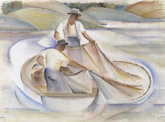 Frank Hinder / Lake Fishermen II / 1938 / watercolour on ivory wove paper