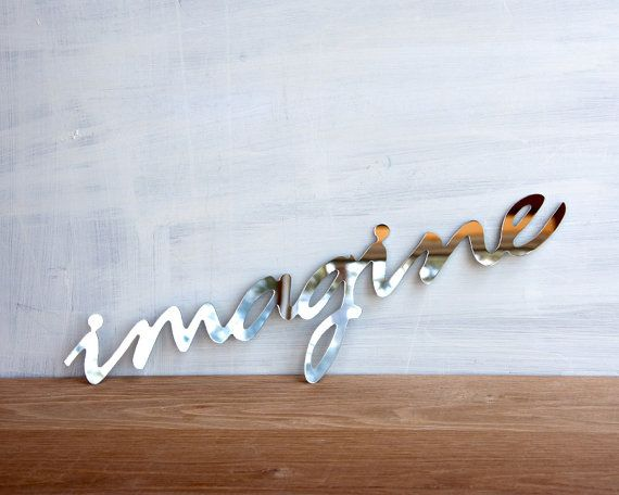 Wall Decor Mirror Word Imagine - walll art, handwriting, typography, wall sign, signage on Etsy, $22.00