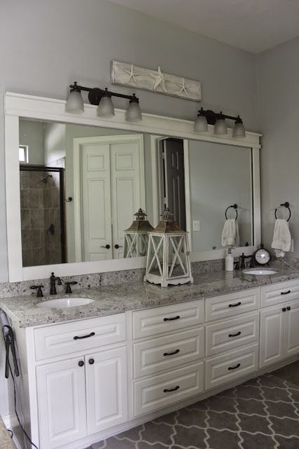 Bathroom mirror, Colonial White Granite, White Dove Cabinet