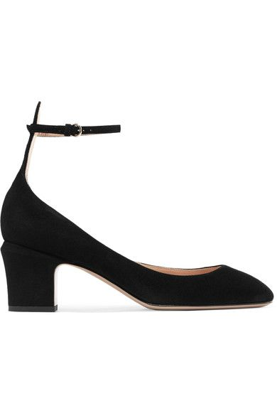 Heel measures approximately 60mm/ 2.5 inches Black suede Buckle-fastening ankle strap Made in Italy