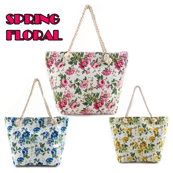 New Elegant Spring Floral Print Pink Yelow Blue Canvas Tote Bag Floral Beach Bag #TD #TotesShoppers