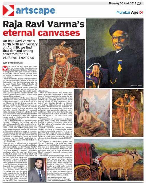 Raja Ravi Varma's eternal canvases - Bid & Hammer coverage in The Asian Age, Mumbai, 30 April 2015