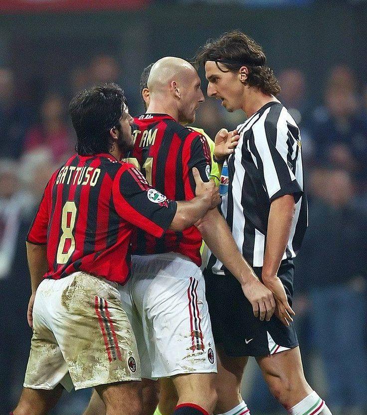 Gennaro Gattuso, Jaap Stam and Zlatan Ibrahimovic (Milan-Juventus)