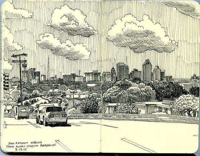 san antonio skyline from alamo stadium parking lot