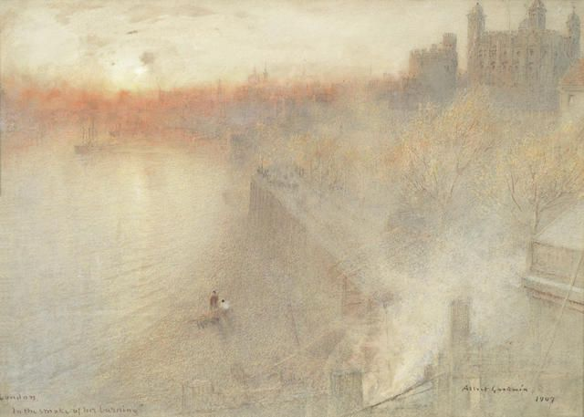Albert Goodwin RWS (British, 1845-1932) 'London, in the smoke of her burning'