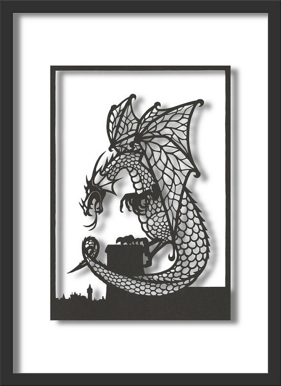 Papercut Art: Looming Dragon, A4 size. via Etsy (one for Ollie, @Rosie HW HW Carson )