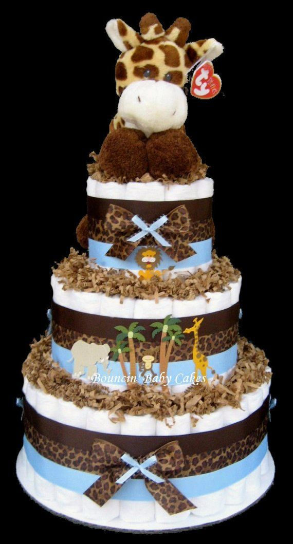 Baby Giraffe Safari Diaper Cake, Baby Shower Centerpiece