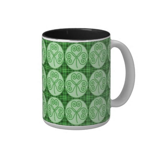 Green and Black Plaid Shamrock Pattern Mug