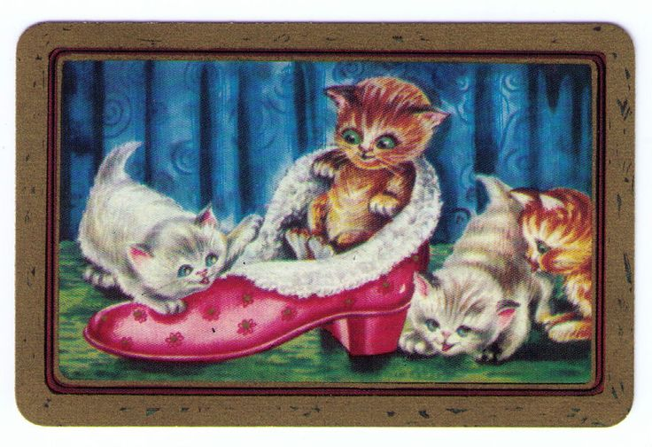 SWAP / PLAYING CARDS COLES UN-NAMED SERIES - CATS - KITTENS IN SLIPPER sold $25.00 (2016)