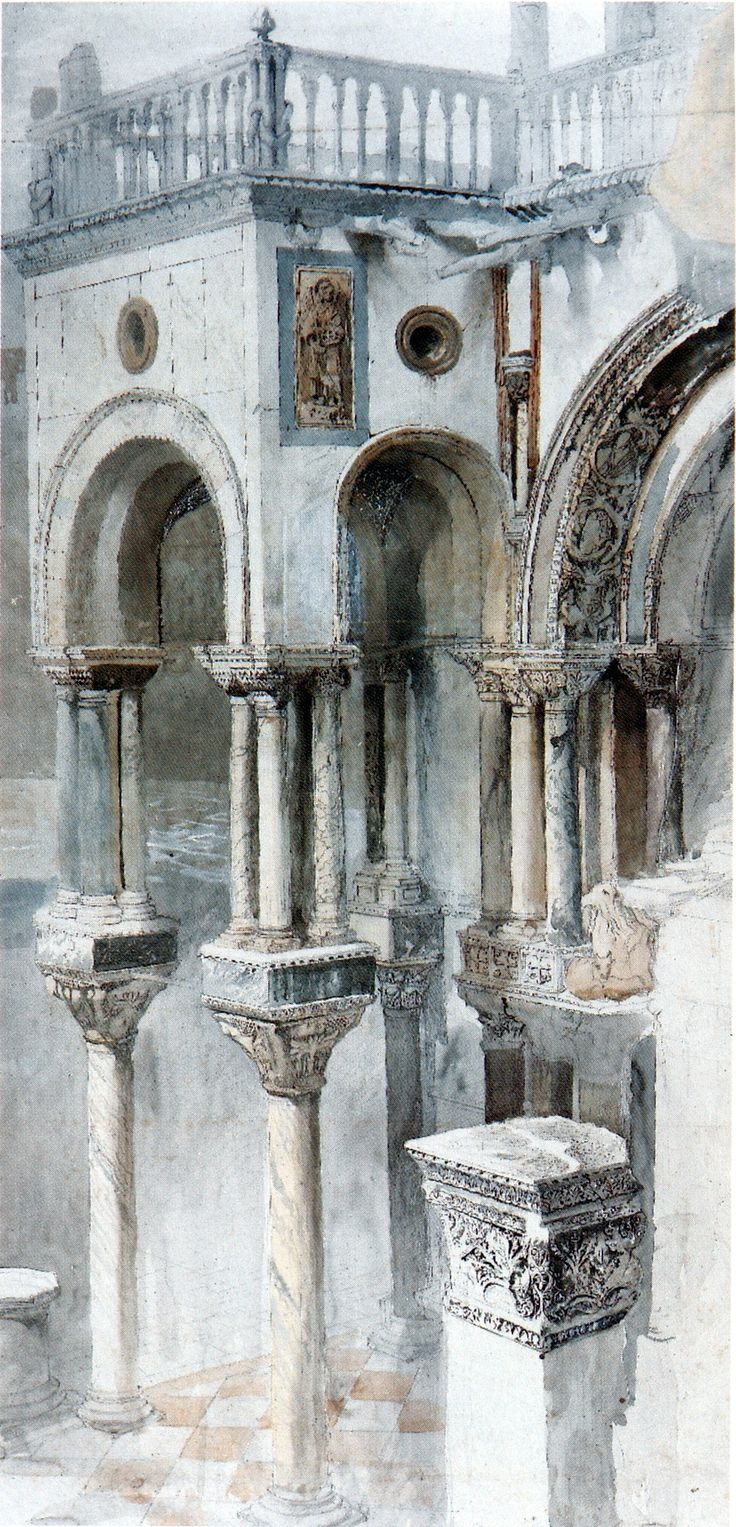 thefallofkain: John Ruskin, The South Side of St Mark's from the Loggia of the Ducal Palace, Venice circa 1851 Pencil and watercolour heightened with white, on 3 pieces of paper, 95.9 x 45.4 cm