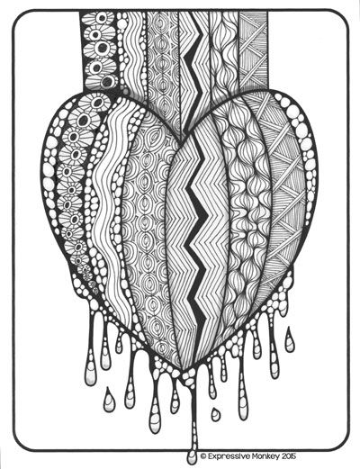 get the coloring sheet used in this zentangle free and have fun making a zentangle heart - Valentines Day Coloring Pages For Adults
