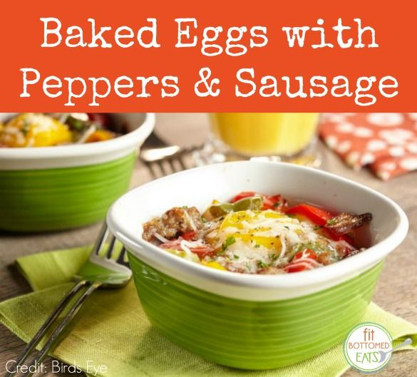 Breakfast doesn't get any better than this! Baked Eggs With Peppers and Breakfast Sausage recipe