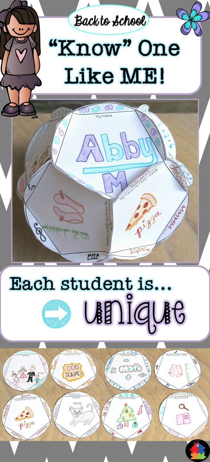 "This fun Back to School project not only allows you to get to know your students, but also allows them to get to know each other! Your kiddos will have a blast as they watch their dodecahedron take ""shape"". The main message through this activity is that there is ""Know"" One Like Me, because we are all very unique. Be sure to encourage them to embrace and appreciate their differences in one another."