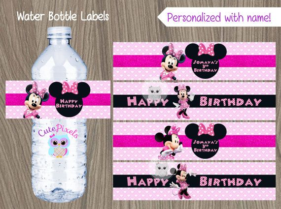 Minnie Mouse Water Bottle Labels Minnie Mouse Labels by CutePixels