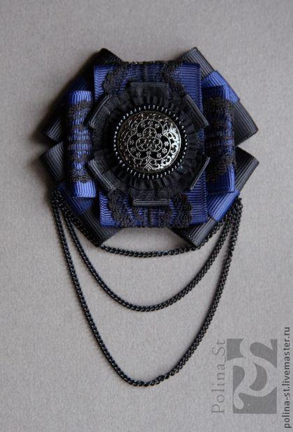брошь- орден 111 - тёмно-синий,черный,авторская работа,брошь,орден,брошь-орден