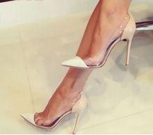 Mulheres Pontas Do Dedo Do Pé Sapatas de Vestido Saltos Lucite Transparente PVC Slip On Shoes Mulher De Salto Alto Da Bomba(China)