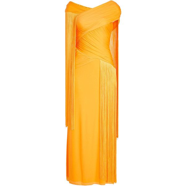 Emilio Pucci Floor Length Gown (£1,370) ❤ liked on Polyvore featuring dresses, gowns, orange, yellow evening dress, floor length gowns, floor length ball gown, ruched dress and ruching dress