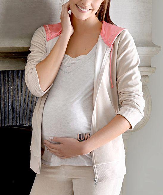 Beige Velvet Maternity & Nursing Zip-Up Hoodie