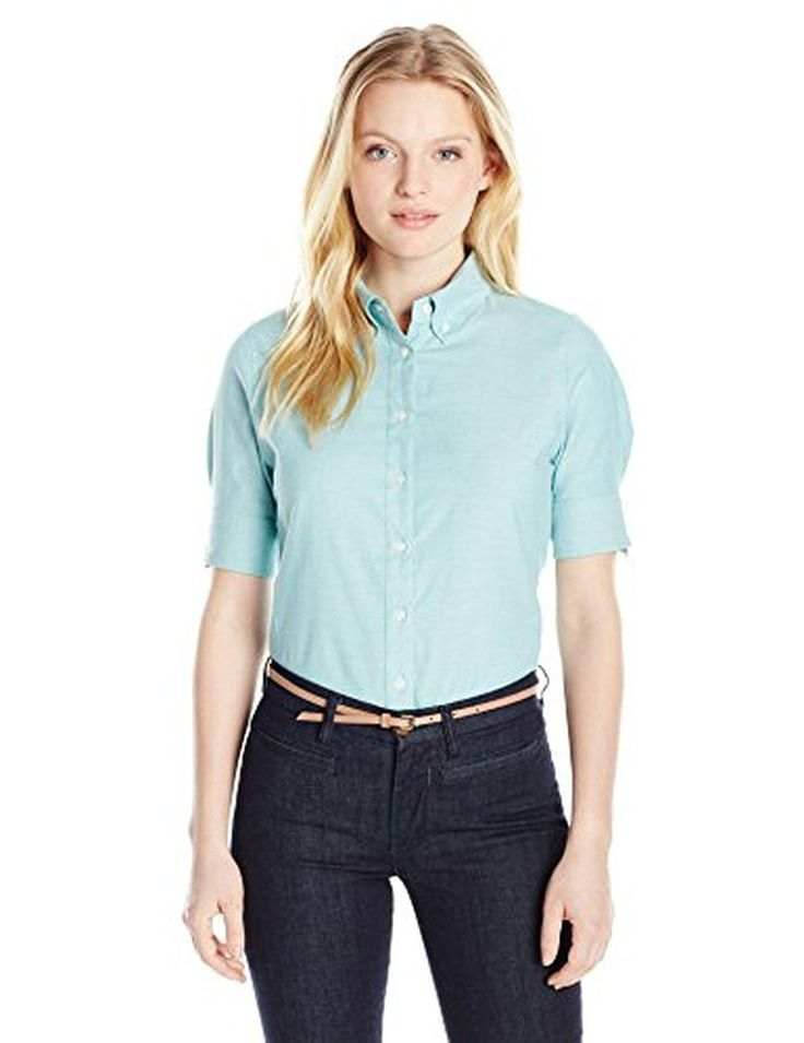 Dockers Women's Petite Short Sleeve Button Down Oxford Shirt, La Palma Turquoise, Petite/Large - Brought to you by Avarsha.com