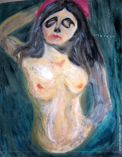 "Inspired by Edward Munch's ""Madonna"". A2,Oil pastel. #lifedrawing #art #edwardmunch #painting #visualart #nudedrawing #freelanceartist"