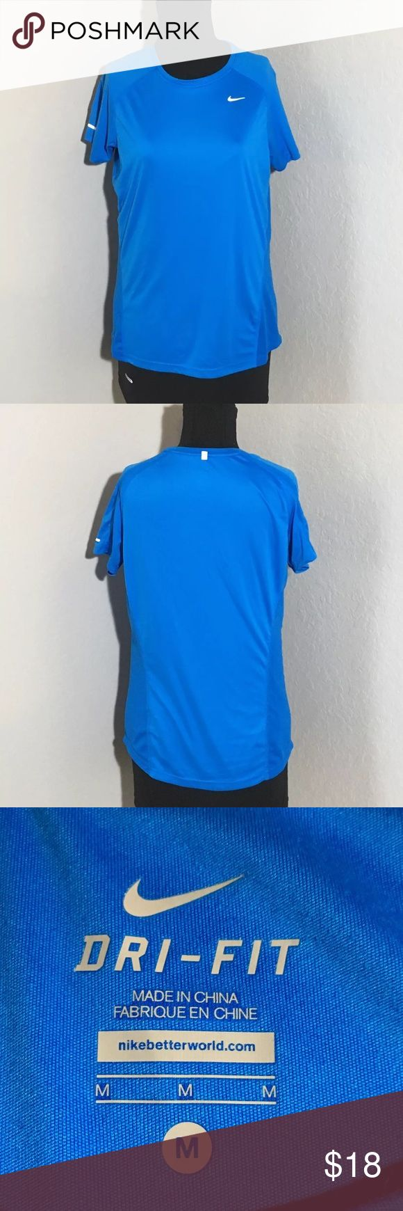 "Nike Dri Fit Blue Short Sleeve Workout T Shirt M Women's blue Nike dri fit short sleeve workout t Shirt. Size M 19"" armpit to armpit, 25"" shoulder to hem. Excellent condition no flaws Nike Tops Tees - Short Sleeve"
