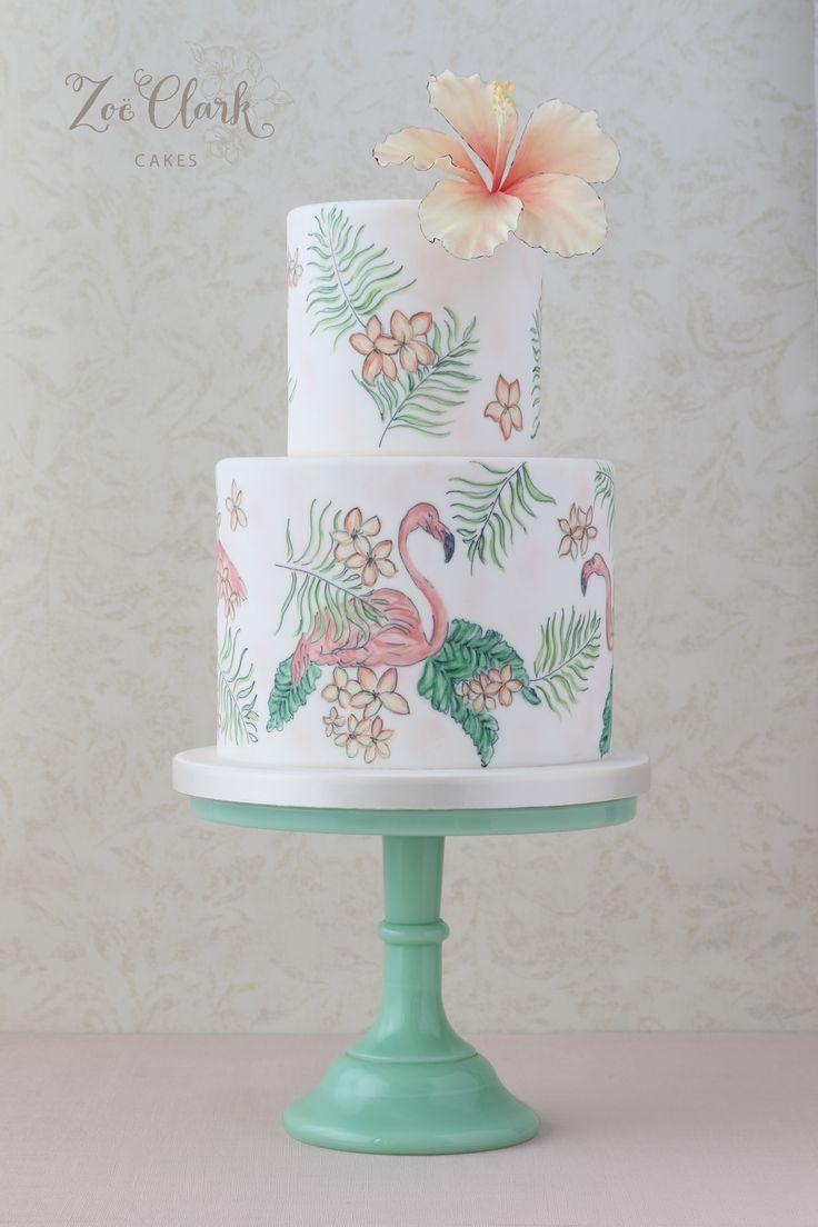 Painted Flamingo cake for Havana shoot