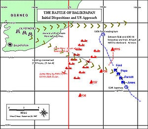 The First Battle of Balikpapan took place on 23-24 January 1942, off the major oil producing town and port of Balikpapan, on Borneo, in the Netherlands East Indies. After capturing the destroyed oilfield at Tarakan from the Allies in the Battle of Tarakan[5], the Japanese force—the Sakaguchi Detachment (named for its commander, Major General Shizuo Sakaguchi)[3]-moved on to Balikpapan with the hope that the oilfields there had not been destroyed.