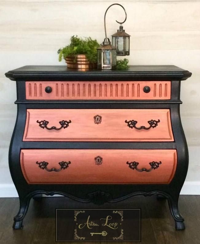 Bombay Chest Of Drawers Painted In Black Copper Guilding Wax Accentuates The Front Of Each Each Three D Furniture Restoration Painted Furniture Redo Furniture