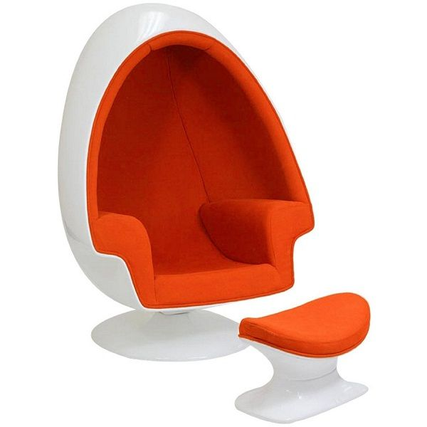 shell egg chair and ottoman in orange 1 145 futuristic furniture