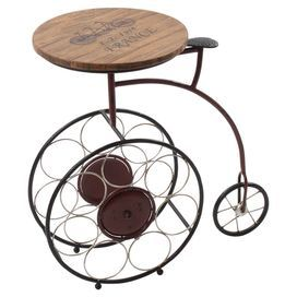 Add a touch of country charm to your home with this metal table. Featuring a penny farthing style design and wooden top with typographical detailing, it teams perfectly with floral fabrics, pastel tones and beaten brass accents for a sense of country style.  Product: Side tableConstruction Material: Fir wood and metalColour: Brown, black and red  Features: Holds up to seven bottles of wine   Dimensions: 60 cm H x 61 cm W x 33 cm D