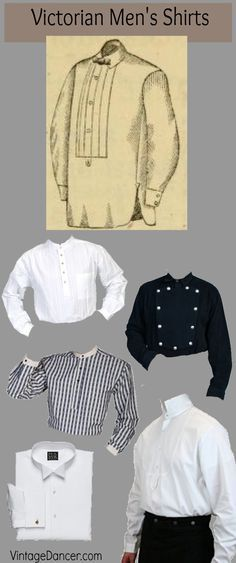 Victorian mens shirts: styles for gentlemen, wild west outlaws, and Steampunk time travelers. At VintageDaner.com/Victorian