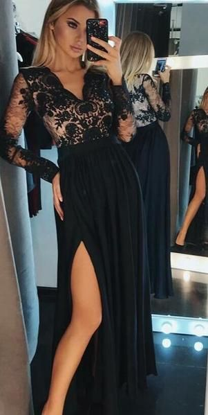 A-Line V-Neck Long Sleeves Black Chiffon Evening Prom Dresses, PD0858 – SposaBridal