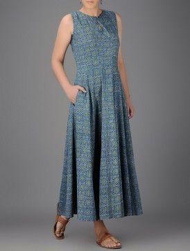 Indigo-Ivory Ajrakh-printed Round Neck Cotton Dress