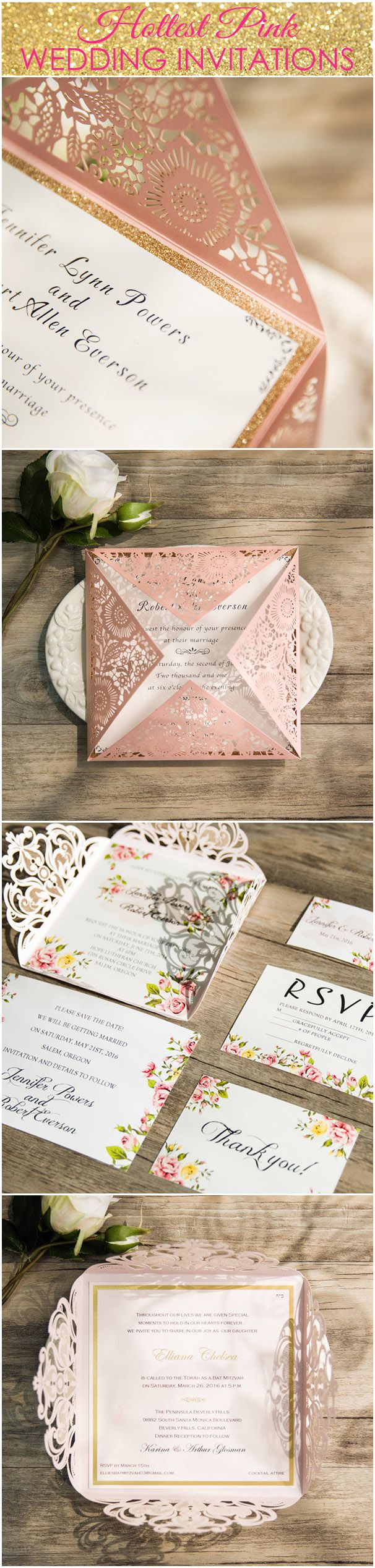 shades of pink wedding invitations laser cut