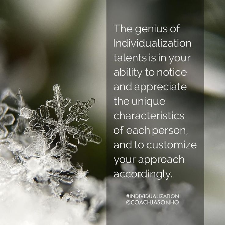 #Singapore - #StrengthsFinder #Individualization is like acknowledging the uniqueness of snowflakes - every single one has a different design yet same hexagonal structure  We are made up the same stuff - water  Each one of us also have a different design yet same humanly structure  We are fundamentally made differently. A person with individualization embraces this very difference as a strength and celebrates the uniqueness of humanity  The definition of StrengthsFinder Individualization's…