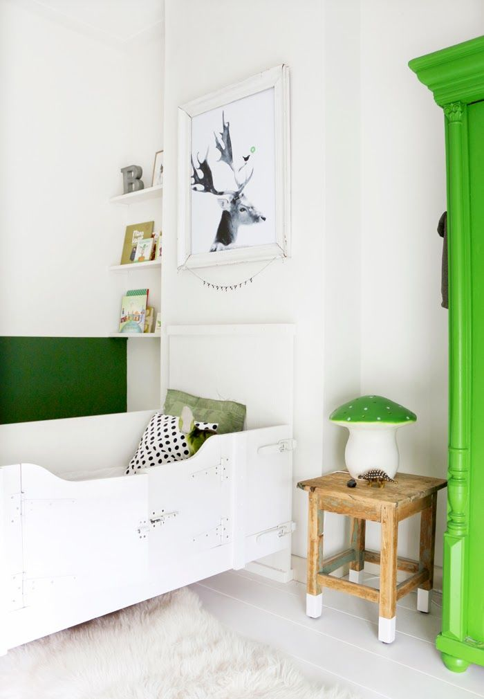 Green & white bedside