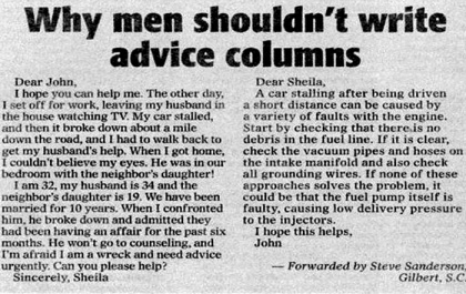 why men shouldn't write advice columns..