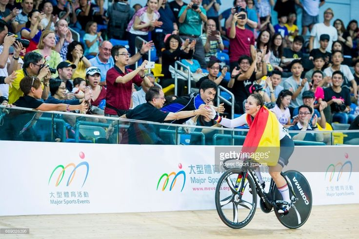 #TWC2017 Kristina Vogel of Germany celebrates winning in the Women's Keirin Finals during 2017 UCI World Cycling on April 16, 2017 in Hong Kong, Hong Kong.