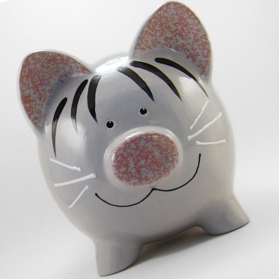 Personalized Piggy Bank Kitty Cat Gray Tabby with by ThePigPen, $42.50