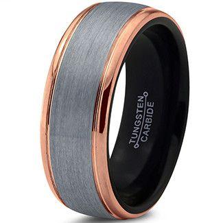 8mm Silver Brushed 18k Rose Gold Step Edge Black Tungsten Ring