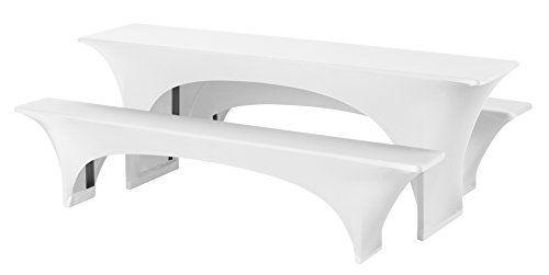 Dena 022501 Hussen-Set Stretch Fortune f�r Festzeltgarnitur, 90% Polyester -10% Elasthane, 220 x 70 cm, wei�