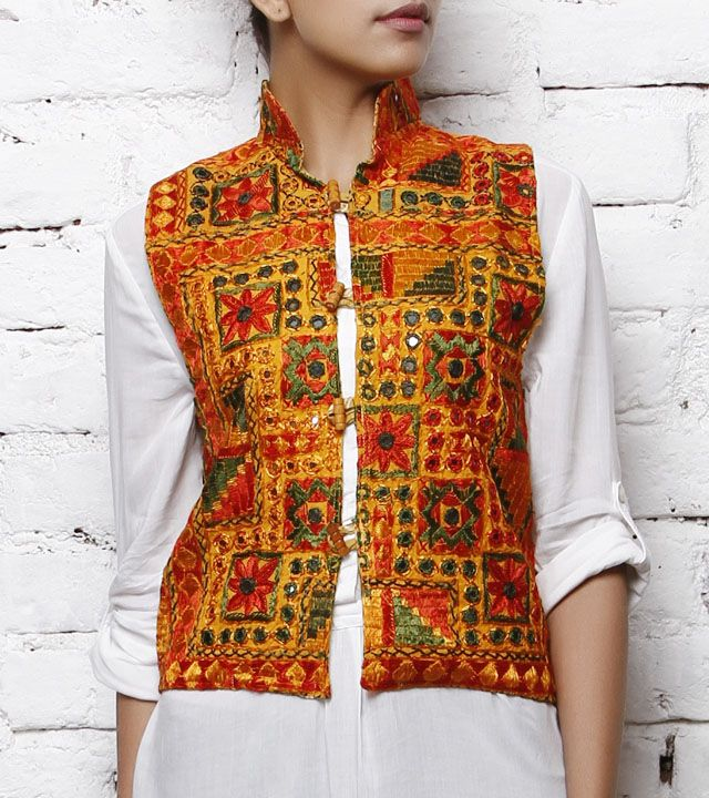 Handcrafted Mustard Choli Jacket with Kutch Embroidery, by 7 Karigar Gali